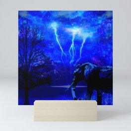ELEPHANT LIGHTNING AND AFRICAN NIGHTS Mini Art Print
