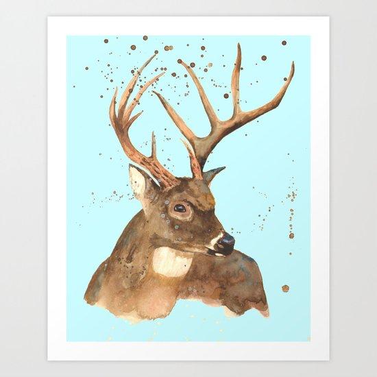 Ice Reindeer Art Print
