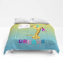 Unicorn - Never Give Up On Your Dreams Comforters
