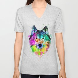 Wolf Watercolor, Wolf Painting, Wolf Portrait, Wolf art, Wolf illustration Unisex V-Neck