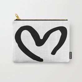 Black and White Heart Carry-All Pouch