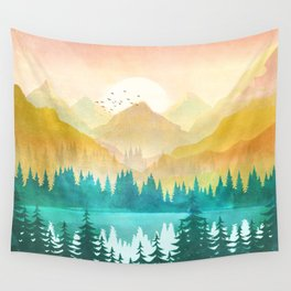 Summer Mountain Sunrise Wall Tapestry