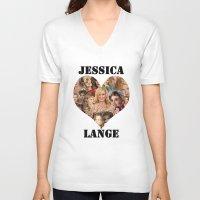 jessica lange V-neck T-shirts featuring Jessica Lange  by BeeJL