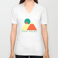 twin peaks V-neck T-shirts featuring Twin Peaks by Victor Velocity