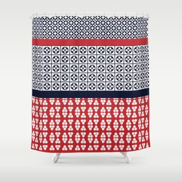 Japanese Style Ethnic Quilt Blue and Red Shower Curtain