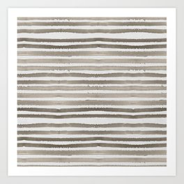 Simply Shibori Stripes Earth Brown on Lunar Gray Art Print