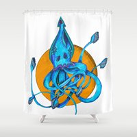 squid Shower Curtains featuring Squid by Ruth Wels
