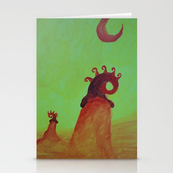 Plants and Moon Stationery Cards