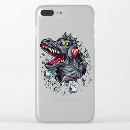 Dino with Headphones Grey Ebony Clay Clear iPhone Case