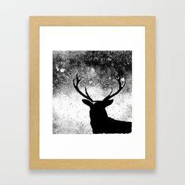 Deer in the Night Black and White Framed Art Print