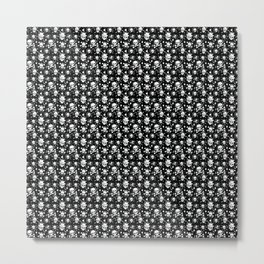 White skull pattern on black - deluxe Metal Print