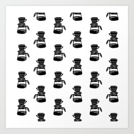 Hario V60 coffee maker linocut black and white drinks pattern kitchen Art Print