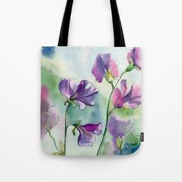 Sweet Pea Watercolour Painting Tote Bag