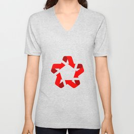 Recycle red star Symbol of new communism Unisex V-Neck