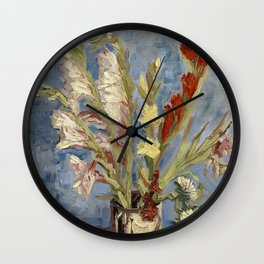 Vase with gladioli and China asters by Vincent Van Gogh Wall Clock