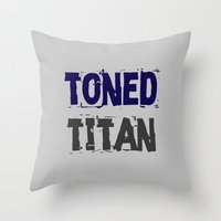 workout Throw Pillows featuring Workout Collection: Toned Titan by Kat Mun