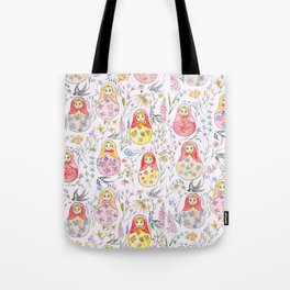 Russian dolls and flowers_ink and watercolor 3 Tote Bag