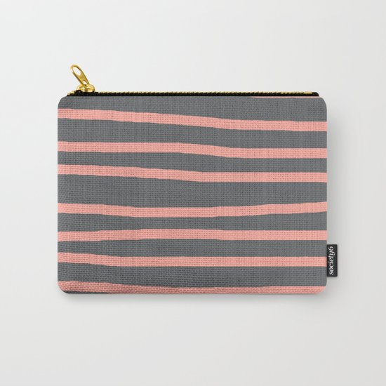 Simply Drawn Stripes Salmon Pink on Storm Gray Carry-All Pouch