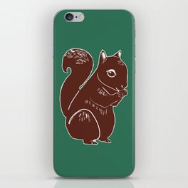Brown Squirrel with Forest Green iPhone Skin