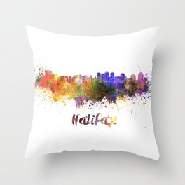 Halifax skyline in watercolor Throw Pillow