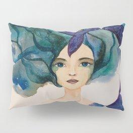 Watercolor Mermaid Blue Green Hair Pillow Sham