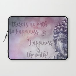 Buddha Path to Happiness Inspirational Typography Laptop Sleeve