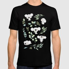 Koala and Eucalyptus Pattern T-shirt