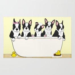 Boston Puppies in a Tub Rug