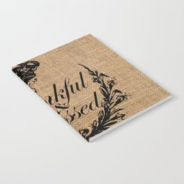 french country jubilee crown thanksgiving fall wreath beige burlap thankful and blessed Notebook
