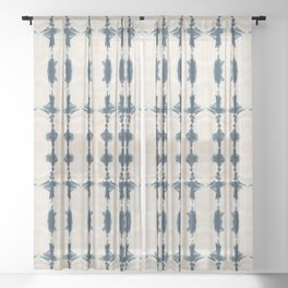 Shibori Movement in Indigo Sheer Curtain