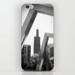 Sears Tower Sculpture Chicago Illinois Black and White Photo iPhone Skin