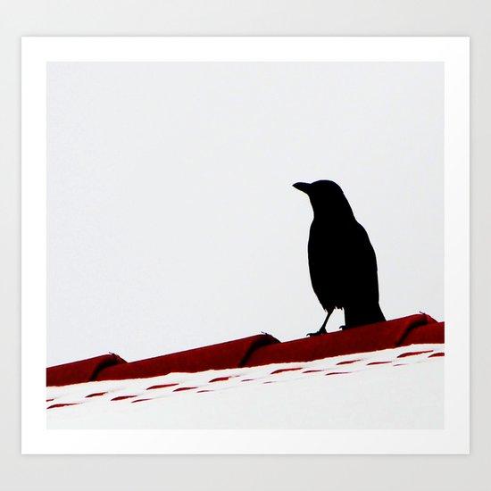 Krähe auf dem Dach Art Print