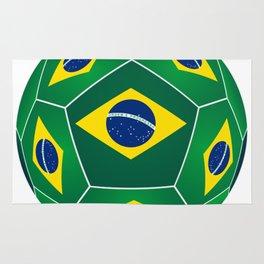 Soccer ball with Brazilian flag Rug