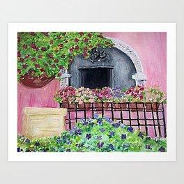 Geraniums and Bouganvilla Art Print