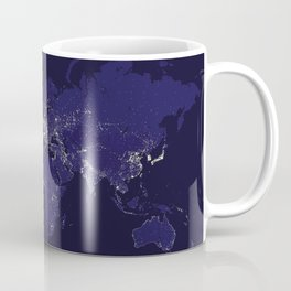 The world map at night in navy blue Coffee Mug