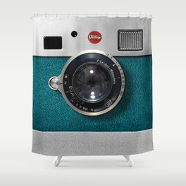 Blue Teal retro vintage camera with germany lens Shower Curtain