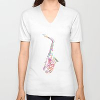 saxophone V-neck T-shirts featuring Stylized  saxophone by Rceeh