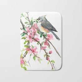 Titmouse and Cherry Blossom Bath Mat