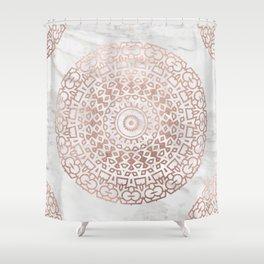 Marble mandala - beaded rose gold on white Shower Curtain