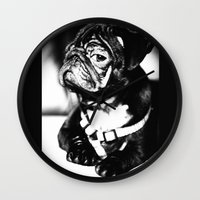 pug Wall Clocks featuring Pug by Falko Follert Art-FF77
