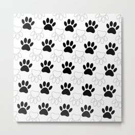 Black And White Dog Paw Print Pattern Metal Print