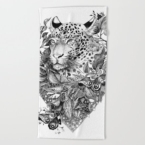 black and white jungle leopard Beach Towel