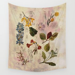 Botanical Study #1, Vintage Botanical Illustration Collage Wall Tapestry