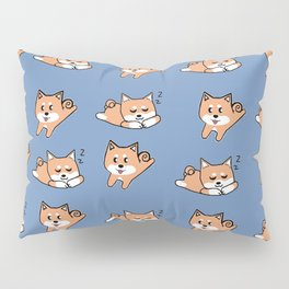 Cool Blue Shiba Pattern Pillow Sham