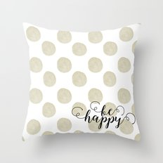 Gold Watercolor Dots Happy Throw Pillow