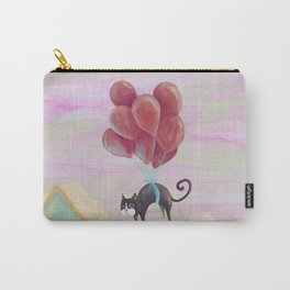 Flying black cat, cute kittens, blue eyes, lovely animals, CG, comic, sweet home, journey, graphic Carry-All Pouch