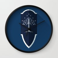 lotr Wall Clocks featuring Shield of Gondor by DWatson