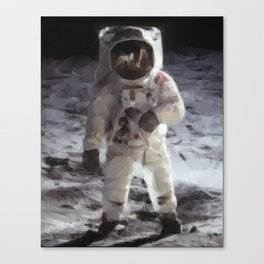 Buzz Aldrin on the Moon in Triangles Canvas Print
