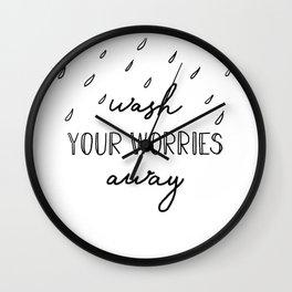 wash your worries away bathroom minimalist art Wall Clock