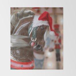 Santa Horse 6 - Retro Throw Blanket